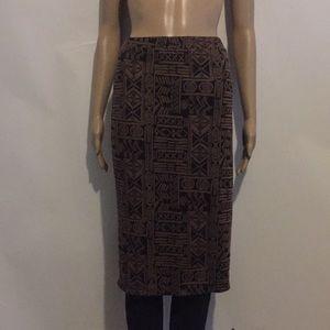 Dresses & Skirts - Ashley blue brown and black midi skirt Sz XL